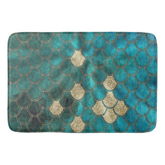 Luxury Aqua Green Mermaid Scales with Gold Glitter Bath Mat