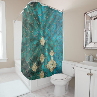 Luxury Aqua Green Mermaid Scales with Gold Glitter Shower Curtain