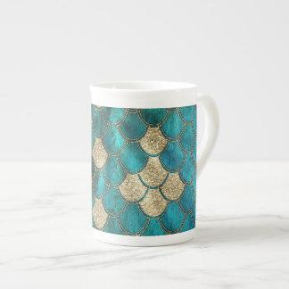 Luxury Aqua Green Mermaid Scales with Gold Glitter Tea Cup