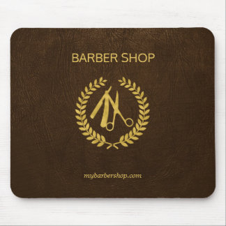Luxury barber shop dark brown leather look gold mouse mat