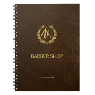 Luxury barber shop dark brown leather look gold spiral note book