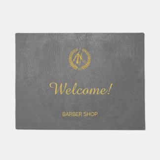 Luxury barber shop dark grey leather look gold doormat