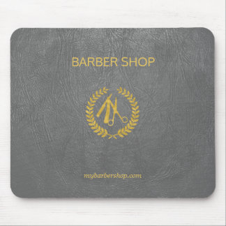 Luxury barber shop dark grey leather look gold mouse mat