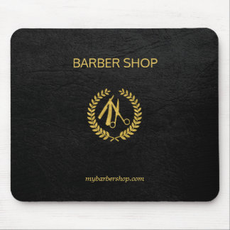 Luxury barber shop gold black leather look gold mouse mat
