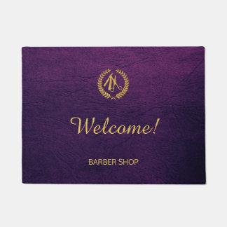 Luxury barber shop purple leather look gold doormat