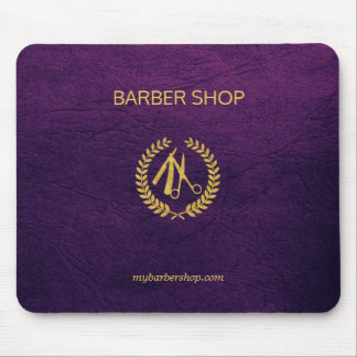 Luxury barber shop purple leather look gold mouse mat
