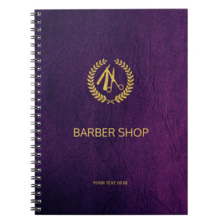 Luxury barber shop purple leather look gold notebooks