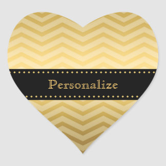 Luxury Black and Gold Chevron Stylish Zigzag Heart Sticker