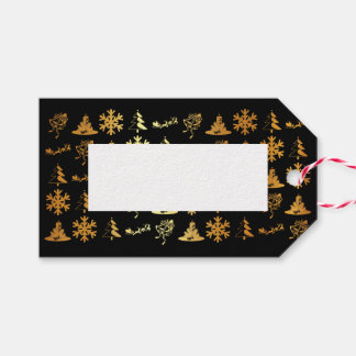 Luxury black and gold christmas figures gift tags