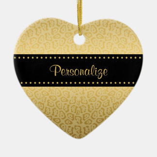 Luxury Black and Gold Jaguar Print With Name Christmas Ornament