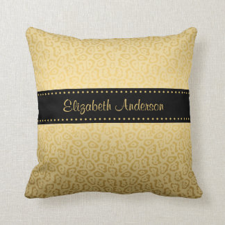 Luxury Black and Gold Jaguar Print With Name Cushion