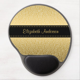Luxury Black and Gold Jaguar Print With Name Gel Mouse Mat