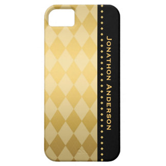 Luxury Black and Gold Masculine Argyle Barely There iPhone 5 Case