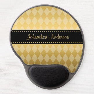 Luxury Black and Gold Masculine Argyle Gel Mouse Mat