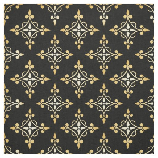 Luxury Black and Gold Quatre Floral Damask Fabric