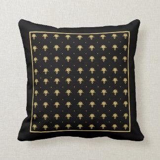 Luxury Black and Gold Vintage Damask Pattern Cushion