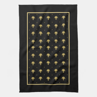 Luxury Black and Gold Vintage Damask Pattern Tea Towel