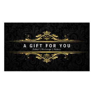 Luxury Black & Gold Damask Salon Gift Certificates Pack Of Standard Business Cards