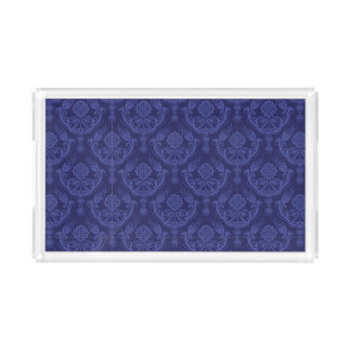 Luxury blue floral damask wallpaper acrylic tray
