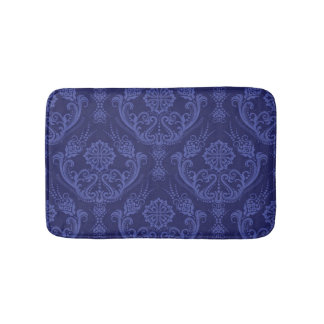 Luxury blue floral damask wallpaper bath mat
