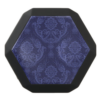 Luxury blue floral damask wallpaper black bluetooth speaker