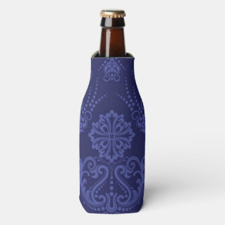 Luxury blue floral damask wallpaper bottle cooler