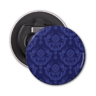 Luxury blue floral damask wallpaper bottle opener