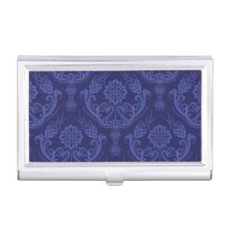 Luxury blue floral damask wallpaper business card holder