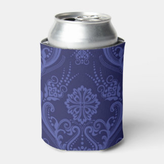 Luxury blue floral damask wallpaper can cooler