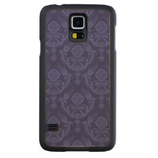 Luxury blue floral damask wallpaper carved maple galaxy s5 case