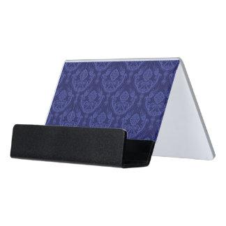 Luxury blue floral damask wallpaper desk business card holder