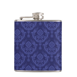 Luxury blue floral damask wallpaper flasks