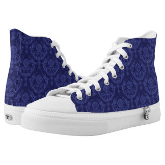 Luxury blue floral damask wallpaper high tops