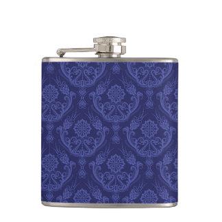 Luxury blue floral damask wallpaper hip flask