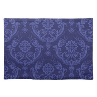 Luxury blue floral damask wallpaper placemat
