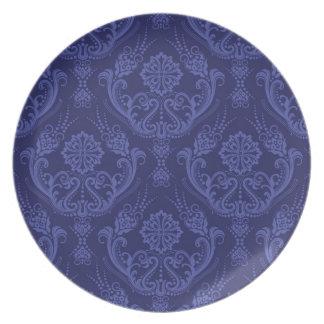 Luxury blue floral damask wallpaper plate