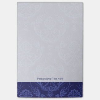 Luxury blue floral damask wallpaper post-it notes