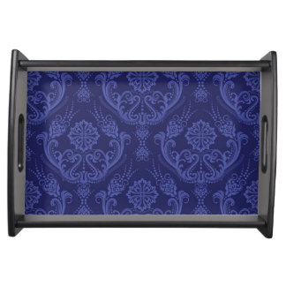 Luxury blue floral damask wallpaper serving tray
