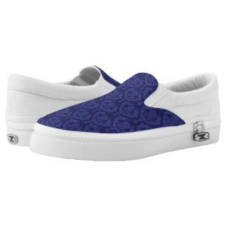 Luxury blue floral damask wallpaper slip on shoes