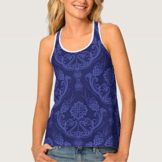 Luxury blue floral damask wallpaper tank top