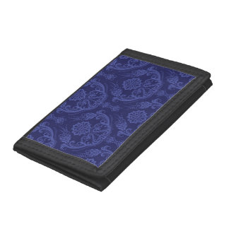 Luxury blue floral damask wallpaper trifold wallet