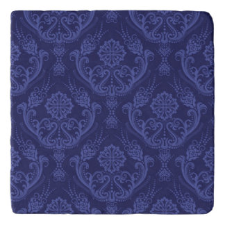 Luxury blue floral damask wallpaper trivet