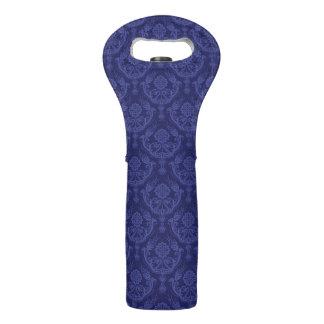 Luxury blue floral damask wallpaper wine bag