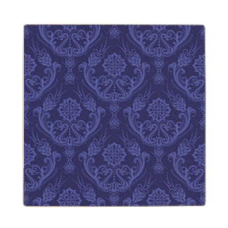 Luxury blue floral damask wallpaper wood coaster