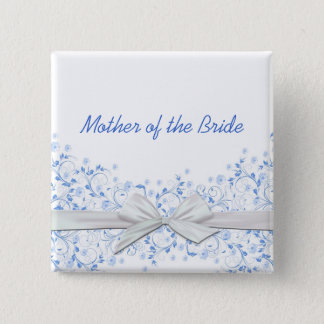 Luxury Blue Floral Swirls Ribbon Button