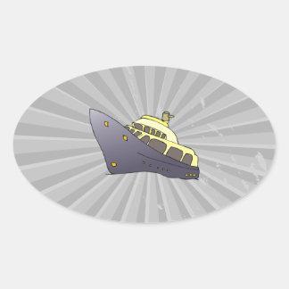 luxury boat oval sticker