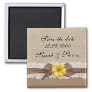 Luxury Brown Ribbon Burlap Lace Save the date Square Magnet