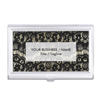 Luxury chic faux gold black floral french lace business card cases