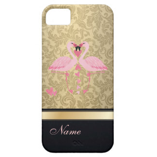 Luxury classy damask flamingos personalized barely there iPhone 5 case