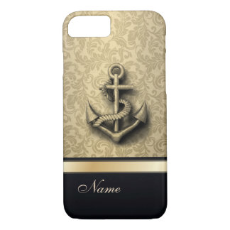Luxury classy damask vintage anchor monogram iPhone 8/7 case
